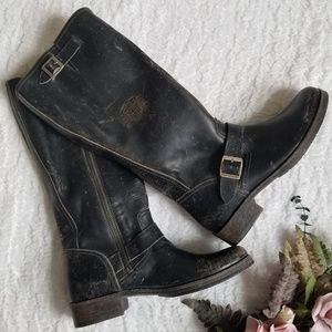 Harley Davidson Distressed Logo Embossed Boots 7B